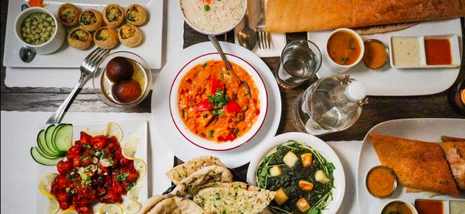 May contain: examples of dishes served in the Ahimsa Garden restaurant, interior or exterior of Ahimsa Garden restaurant